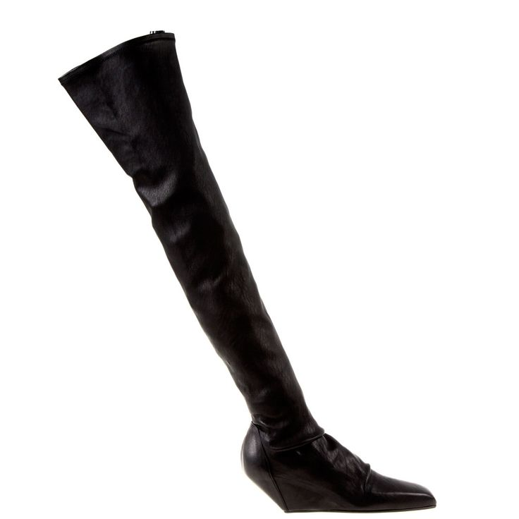 Long stretch boot in black leather by Rick Owens. Square toe and comfortable wedge heels. High until your thigh, to wear with mini dress from the same brand.