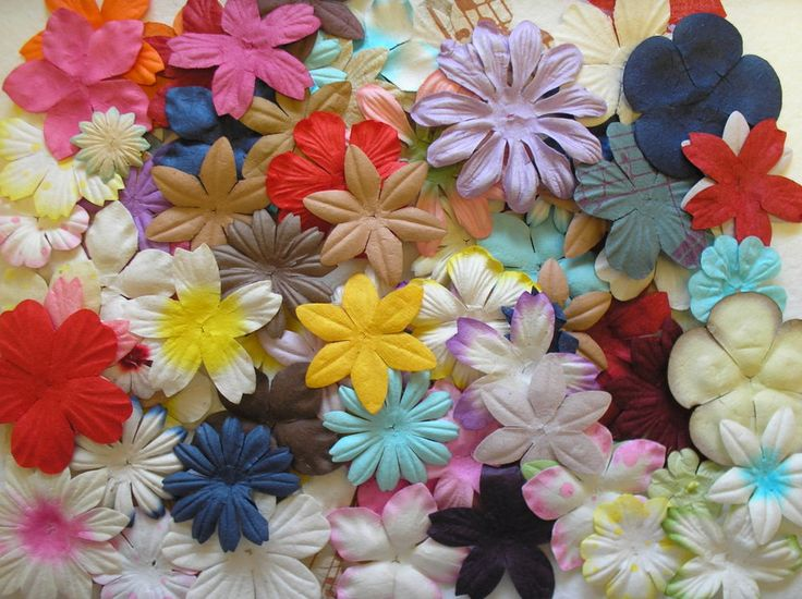 100 CRAFTY COW Mulberry paper MIXED FLOWER SELECTION crafty cow EXCLUSIVE
