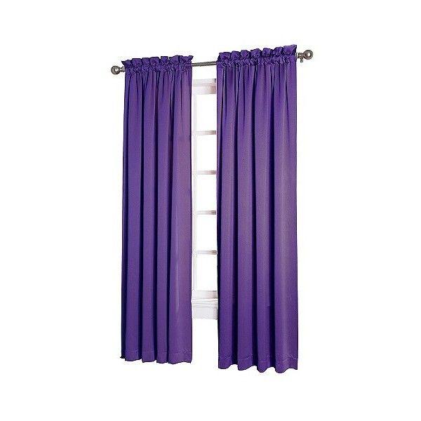 Sun Zero Seymour Room Darkening Pole Top Curtain Panel (4.818 KWD) ❤ liked on Polyvore featuring home, home decor, window treatments, curtains, purple, rod pocket drapery panels, purple valance, rod pocket draperies, target curtain panels and purple curtain panels