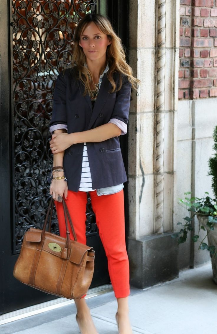 Cropped red pants, stripes, blazer, & an awesome worn-in leather Mulberry bag? How could I not love this.