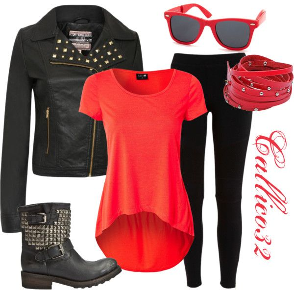 Biker chick by callico32 on Polyvore featuring polyvore, fashion, style, Sally&Circle, Bardot, Ash and Charlotte Russe