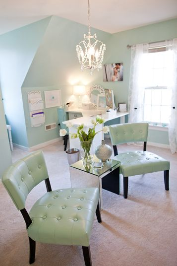 Calming color scheme in aqua, white & natural browns: Wall Colors, Offices Spaces, Than, Interiors Design, Colors Schemes, Offices Ideas, House, Accent Chairs, Home Offices