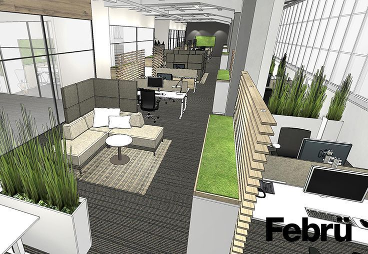 Büro einrichten Open Space Büro verschiedene Bereiche im