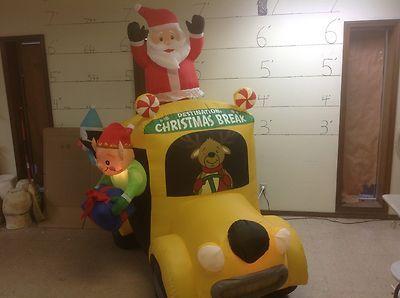 Gemmy Prototype Airblown Inflatable Christmas Animated Santa School Bus 87465 Buses