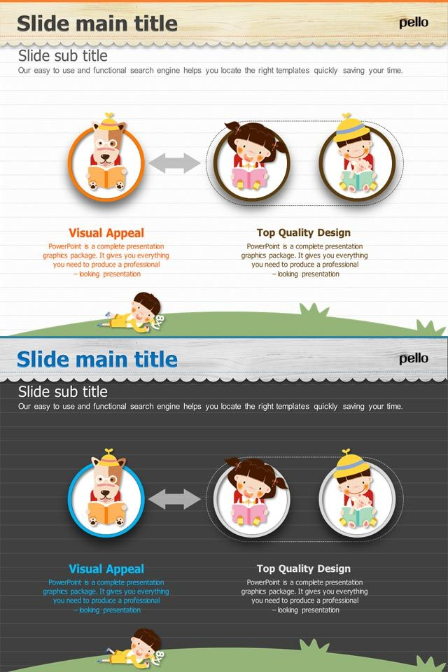 Cute, children-themed Diverging type of Diagram. Available in light or dark color palettes. Full HD PowerPoint templates.