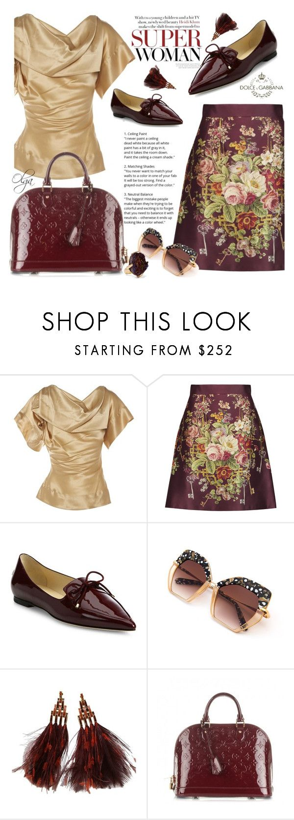 """""""Woman and the City 1"""" by olga1402 on Polyvore featuring Vivienne Westwood, Dolce&Gabbana, Jimmy Choo, Louis Vuitton, Christopher Kane, dolceandgabbana and floralskirt"""