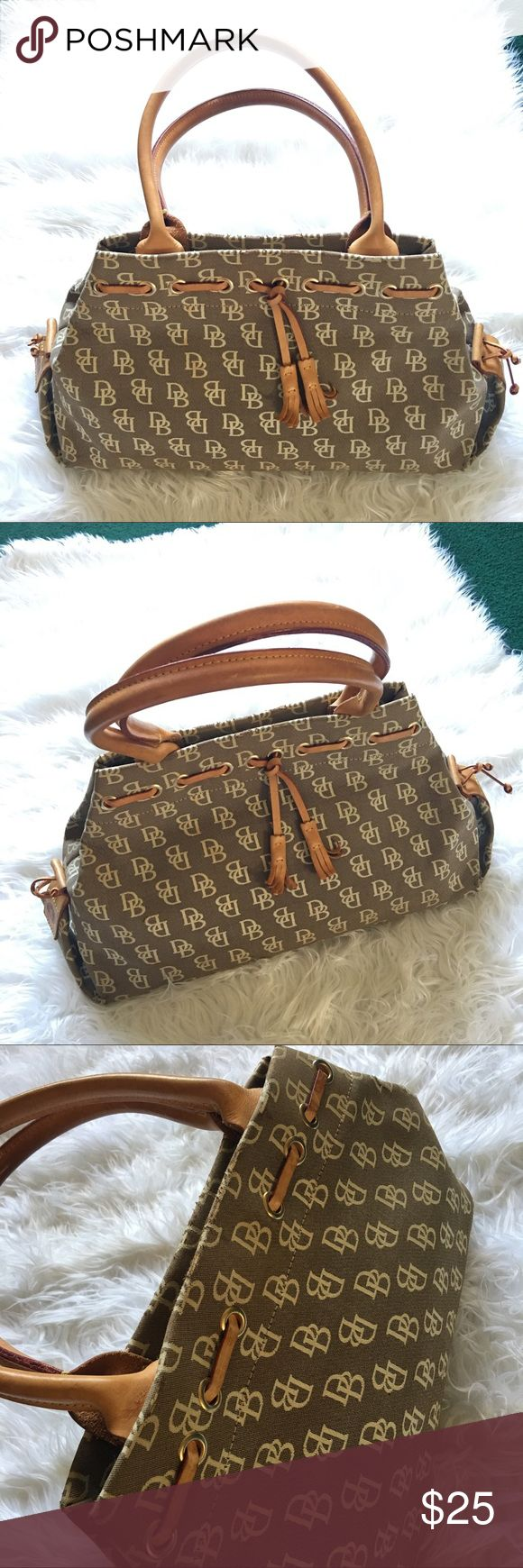 Dooney & Bourke Monogramed Tan Cream Shoulder Bag Beautiful bag by Dooney & Bourke! Corner damage and minor staining shown in the photos. Please offer or ask any questions! Dooney & Bourke Bags Shoulder Bags