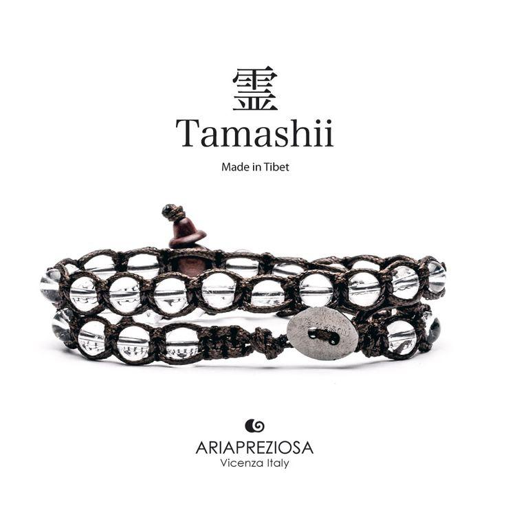 Tamashii - Bracciale Lungo Tradizionale Tibetano 2 giri Originale in Cristallo Di Rocca