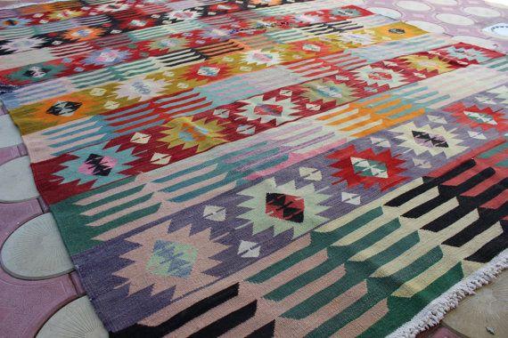 """9'5"""" x 7'1"""" / 289 x 216 cm  turkish rug kilim, vintage kilim, Area Rugs Pink and Orange Boho Kilim Rug Oriental Tribal Old Kelim Floor Rugs"""