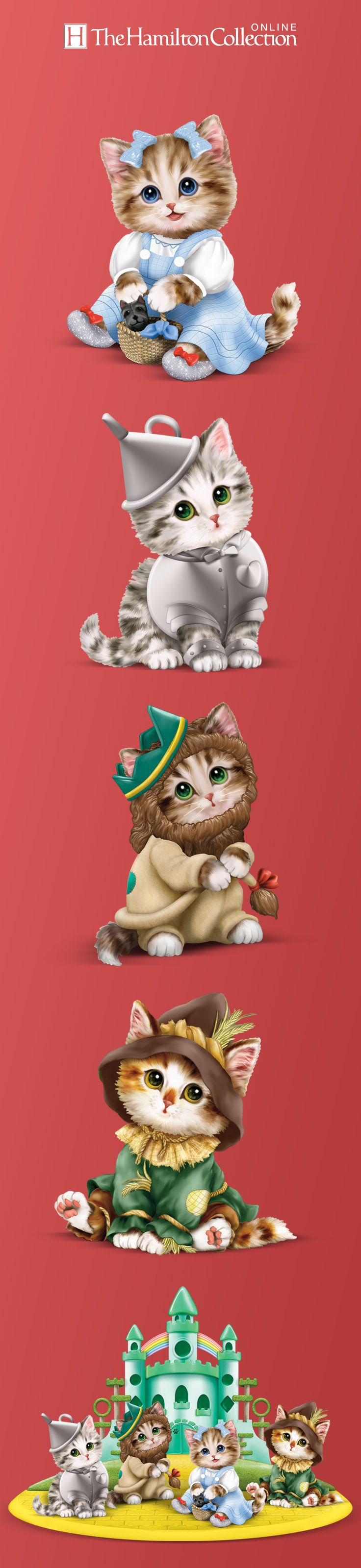 It's the wonderful kitties of Oz! Dressed as your favorite characters from The Wonderful Wizard of Oz, these adorable kitten figurines even have their own Emerald City display.