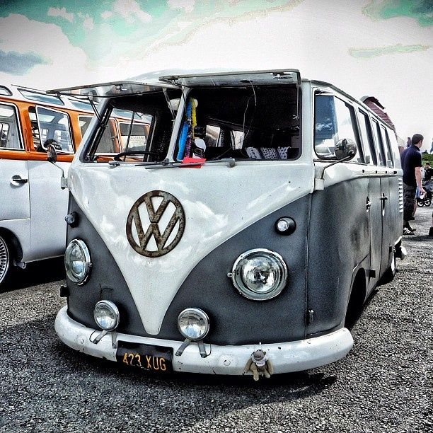 Two tone silver and white VW Camper