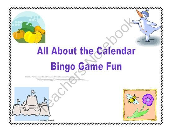 Calendar Skills Bingo Game from Mrs. Mc's Shop on TeachersNotebook.com -  (25 pages)  - This is the product for a complete review of the calendar using a colorful Bingo game format. Review the days of the week, months, holidays, seasons, and number of days in the months. This colorful Bingo game can be printed on heavy cardstock and laminate