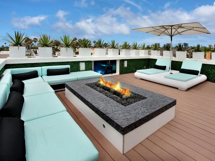 Cool Blue Relaxation #firepit #deck #patio
