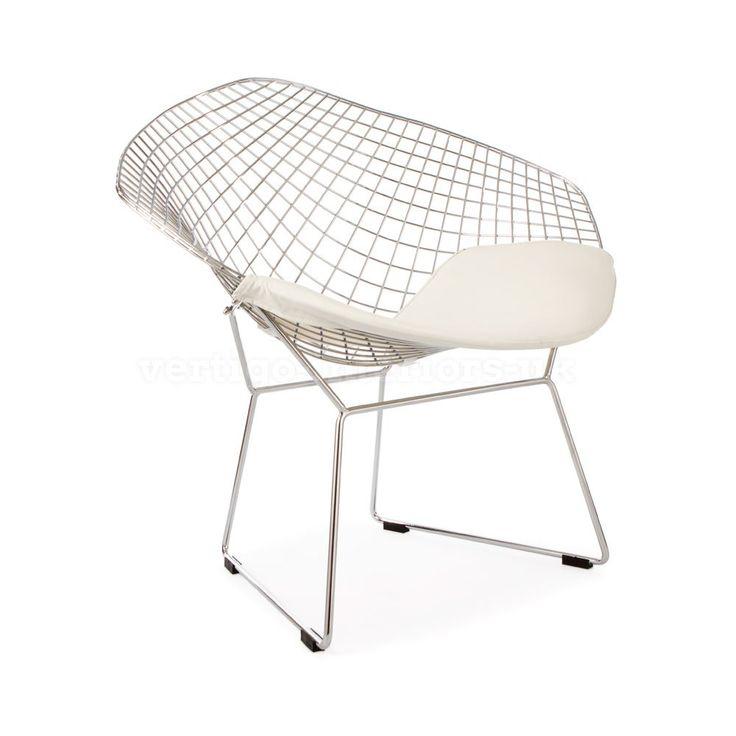 Harry Bertoia Style Diamond Lounge Chair - White Seat Pad