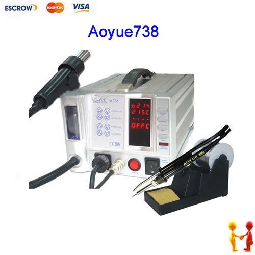 230.00$  Buy now - http://alid35.worldwells.pw/go.php?t=1592575220 - AOYUE 738 SMD Rework Station 220V, Hot Air Gun / Soldering Iron SMD Solder Station AOYUE738 Welding equipment