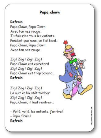 Comptine illustrée à imprimer gratuitement Papa Clown
