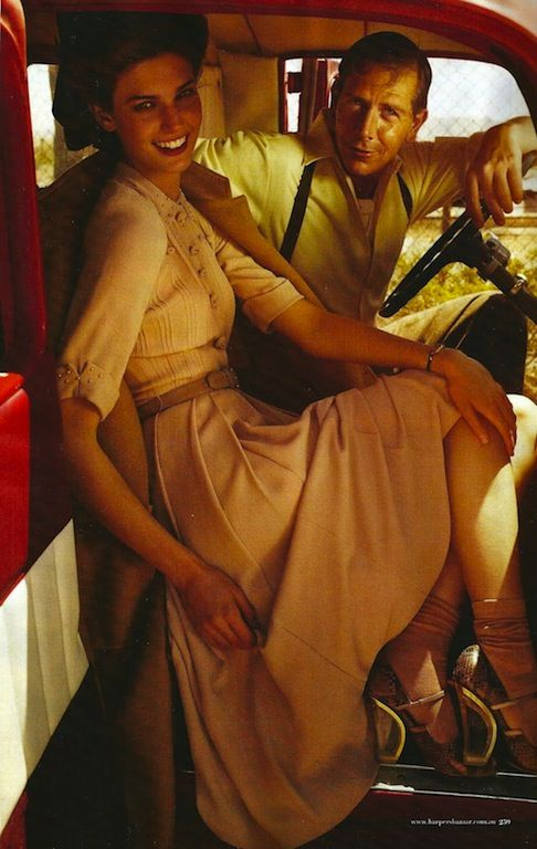 "The Terrier and Lobster: ""Two for the Road"": Kendra Spears and Ben Mendelsohn Go 40s by for Harper's Bazaar Australia"