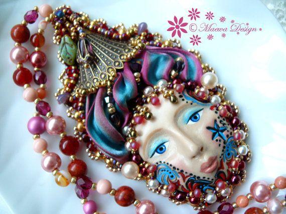 Bead embroidered Pendant LADY necklace Shibori silk ribbon Beadwork coral agate Ebw Team Ebeg seed beaded jewelry Ooak on Etsy, $105.44 AUD