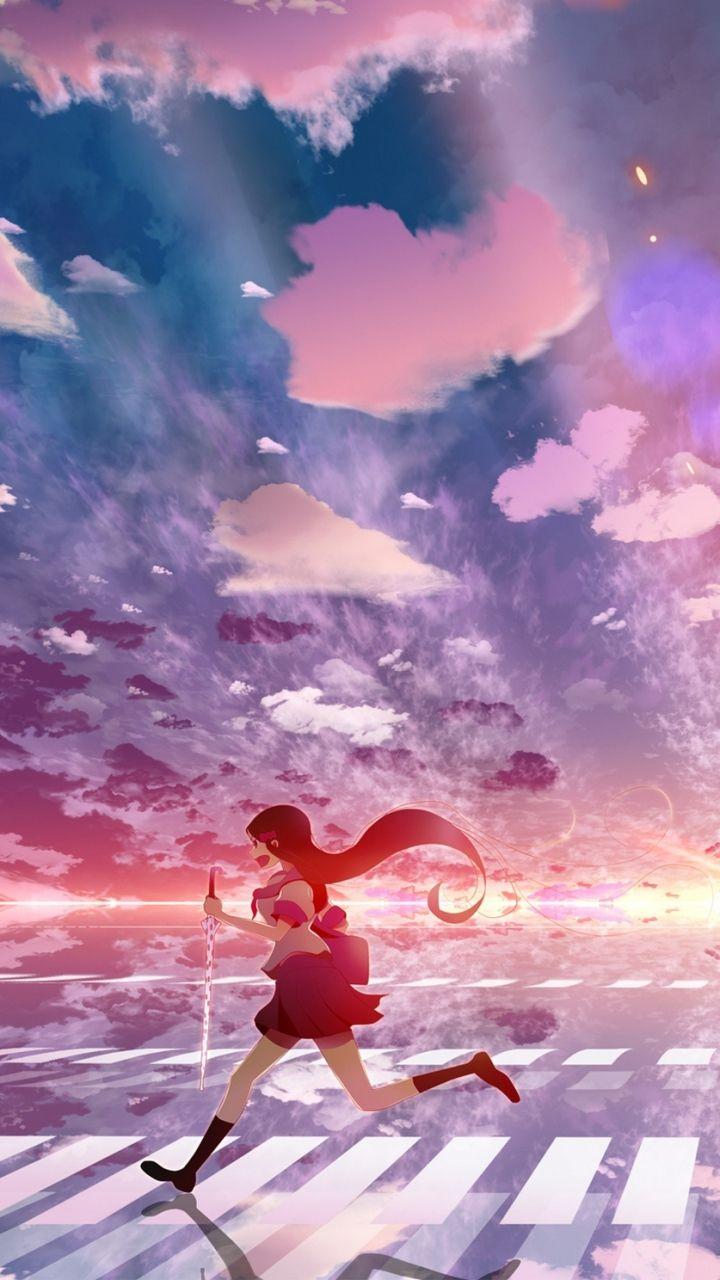 Download Wallpaper 720x1280 Girl, Anime, Sky, Running