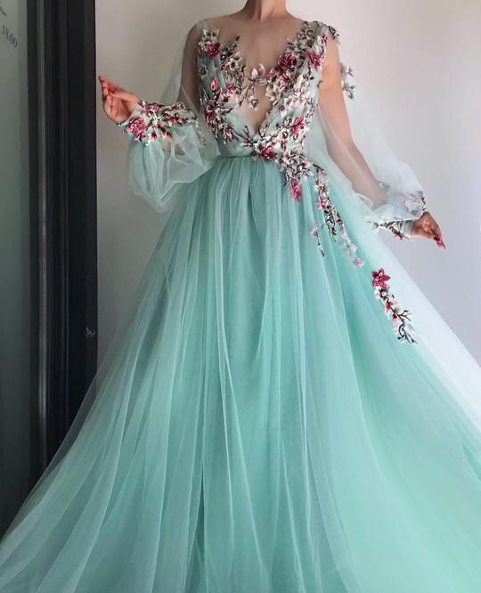 907e488a7fc83 Turquoise Queen Tulle Applique Long Prom Dresses 2018 | LAS VEGAS in ...