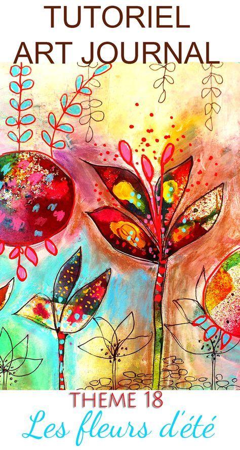 Art-Journal – Tutorial for summer flowers – Theme 18