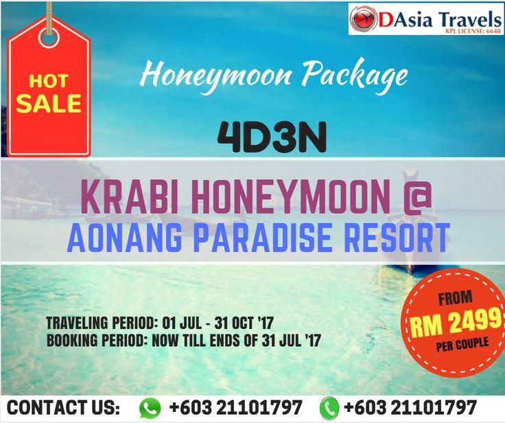 HOT SALE !!!  HONEYMOON PACKAGE 4D3N KRABI HONEYMOON @ AONANG PARADISE RESORT  ONLY FROM RM 2499 per couple !!!  Krabi is one of famous attraction in Thailand and around the world will be the best choice for honeymoon trip. Experiencing the honeymoon package to Krabi @ Aonang Paradise Resort for 4 Days 3 Nights through D Asia Travels.  #krabihoneymoonaonangparadiseresort #aonangparadiseresorthoneymoonpackage #jamesbondislandtourhoneymoonpackage #krabihoneymoon #phiphiislandtour…