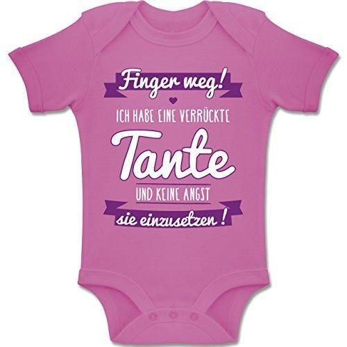 Shirtracer Sprüche Baby – Ich Habe eine Verrückte Tante Lila – 6-12 Monate – Pink – BZ10 – Baby Body Kurzarm Jungen Mädchen