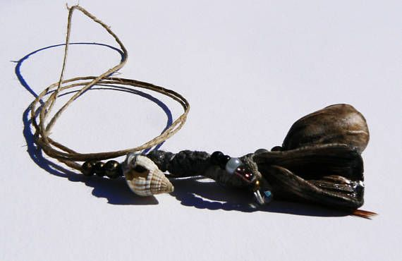 porcelain beads brown and ivory notes necklace with feather