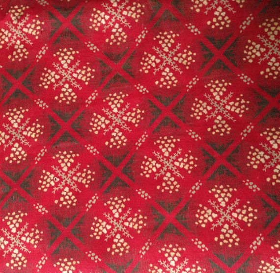 Antique Turkey Red Wool Challis Fabric // approx by historyofagirl
