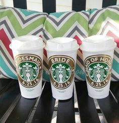 Wedding Party Starbucks Cups!   These custom coffee cups are genuine Starbucks travel cups that are personalized to you with the name, bride, bridesmaid, mother of the bride, maid of honor, etc of your choice. We can also alter the name of the drink to coffee, tea, etc. These 16 ounce Starbucks cups are reusable and you will even get a $0.10 discount when you bring them to your local Starbucks! These customized monogram travel mugs are made with outdoor, long lasting vinyl, and fit in most…