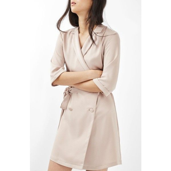 Women's Topshop Double Breasted Wrap Dress (262.710 COP) ❤ liked on Polyvore featuring dresses, beige, mini wrap dress, pink cocktail dress, mini dress, short dresses and short pink dress