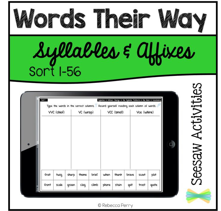 Seesaw Activities Words Their Way Syllables & Affixes