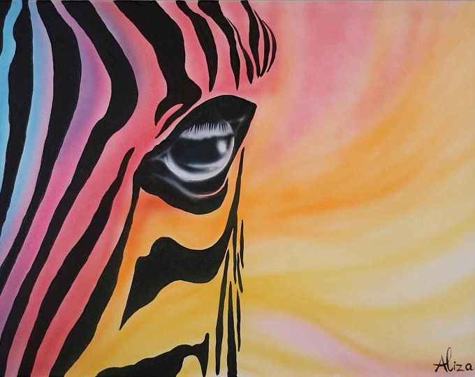 Black And White Zebra 64 Set Of Two Abstract Acrylic On Canvas By Alizarts Zebra Painting Painting Air Brush Painting