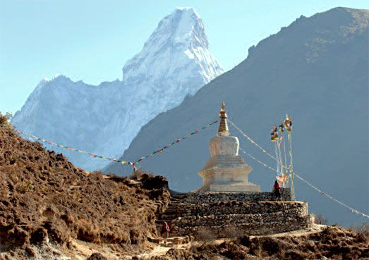Buddhist stupa in the mountains of Nepal