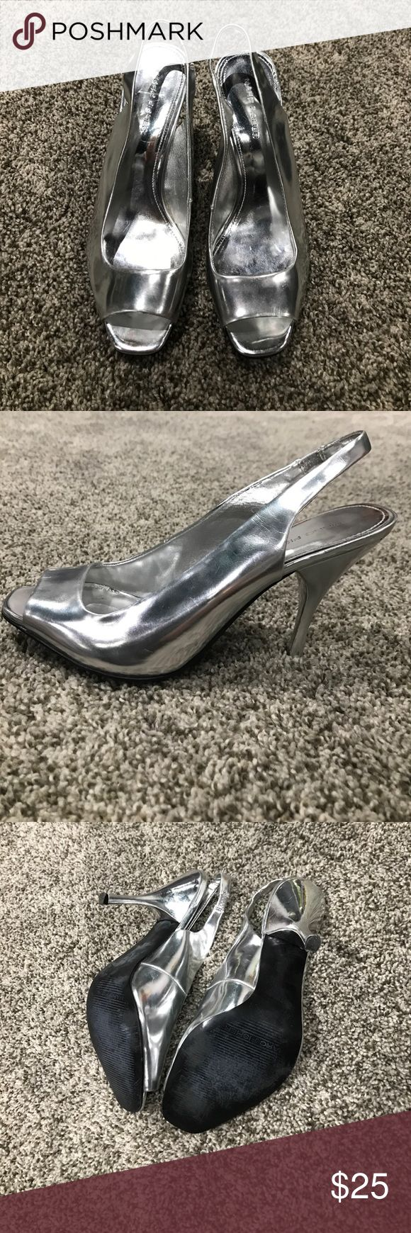 Marc Fisher Silver Peep-Toe heels Shiny peep toe heels by Marc Fisher, worn once! Has some faint scuffing, otherwise good condition. Marc Fisher Shoes Heels