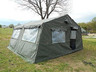Military surplus 16x16 frame tent plus liner very good for How to build a canvas tent frame