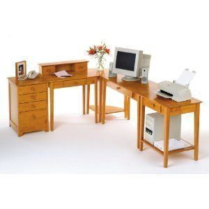 """Studio 5Pc Home Office Set By Winsome Wood by Winsome Wood. $719.28. The Honey Pine finish gives it a polished and sleek look.. This home office computer desk set is classic and sturdy.. There is substantial space for storage in the file-folder size drawer and three smaller drawers.. 5pc Home Office Computer Desk Set in Honey Pine Finish. Total 5 cartons, 99042, 99323, 99320, 99333, 99428 Dimensions: """"L x """"W x """"H"""