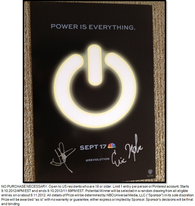 GIVEAWAY TIME! #Revolution fans – enter to win a SIGNED poster from J.J Abrams and Eric Kripke when you RE-PIN this pin with hashtag #RevolutionSept17 !