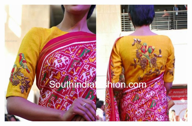 Beautiful yellow raw silk hand work blouse embellished with zardosi work and colorful thread work parrots designed by Gaurang Shah. Related PostsMaggam work Silk saree BlouseMango Design Pearl Work BlouseBeautiful Wedding Saree Blouse DesignsFull Work Blouse for Wedding Sarees