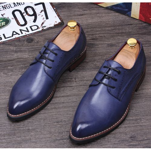 Navy Blue Leather Lace Up Wedding Prom Dress Oxford Shoes for Men SKU-1100182
