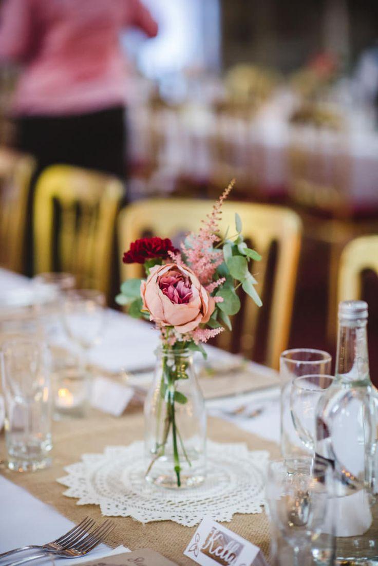 Milk Bottle Flowers Hessian Burlap Doily Peony Rose Crafty Fun Personal Arts Centre Wedding http://www.sophieduckworthphotography.com/