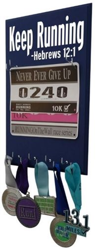 Keep running - Hebrews 12:1 race bibs holder,  Use this inspirational medal holder to display your medal in style and Celebrate your victory with a stylish Inspirational medals display rack - Adidas with design specially made for all.