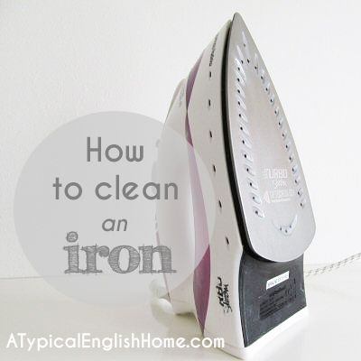 """How to Clean an Iron - """"First, put a little white vinegar on a cloth and gently scrub the surface of the iron. If it isn't too dirty then this may be all you need to do. If that doesn't get enough of the gunk off, mix a tablespoon of baking soda with a drop of white vinegar and stir it to create a paste. Put the paste on your cloth and use this to scrub the iron thoroughly."""""""