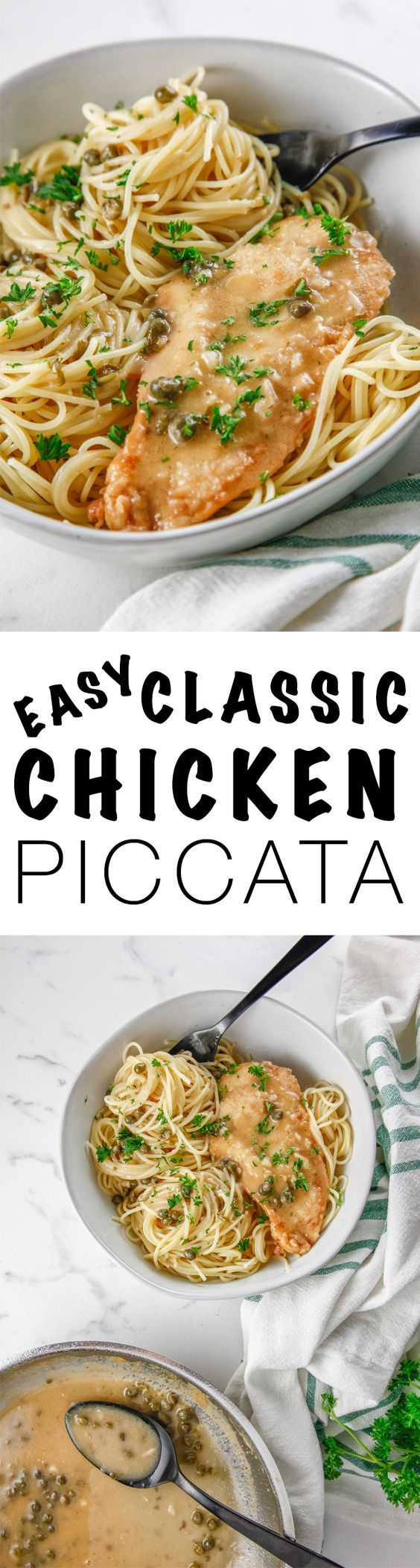 Make a dinner the whole family will love with this recipe for Easy Classic Chicken Piccata. This classic meal is a staple and remains a classic for a reason! via @Thebrooklyncook