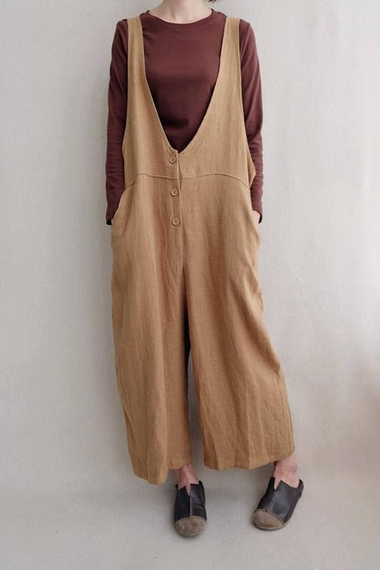 Women Leisure Cotton Jumpsuits Linen Overalls Wide Leg Pants
