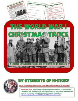 New FREE resource for the holidays and teaching World WarI! This article and worksheet Itzel's the famous story of the Christmas Truce of 1914 between German and British troops. Includes Common Core aligned questions, a key, and more!