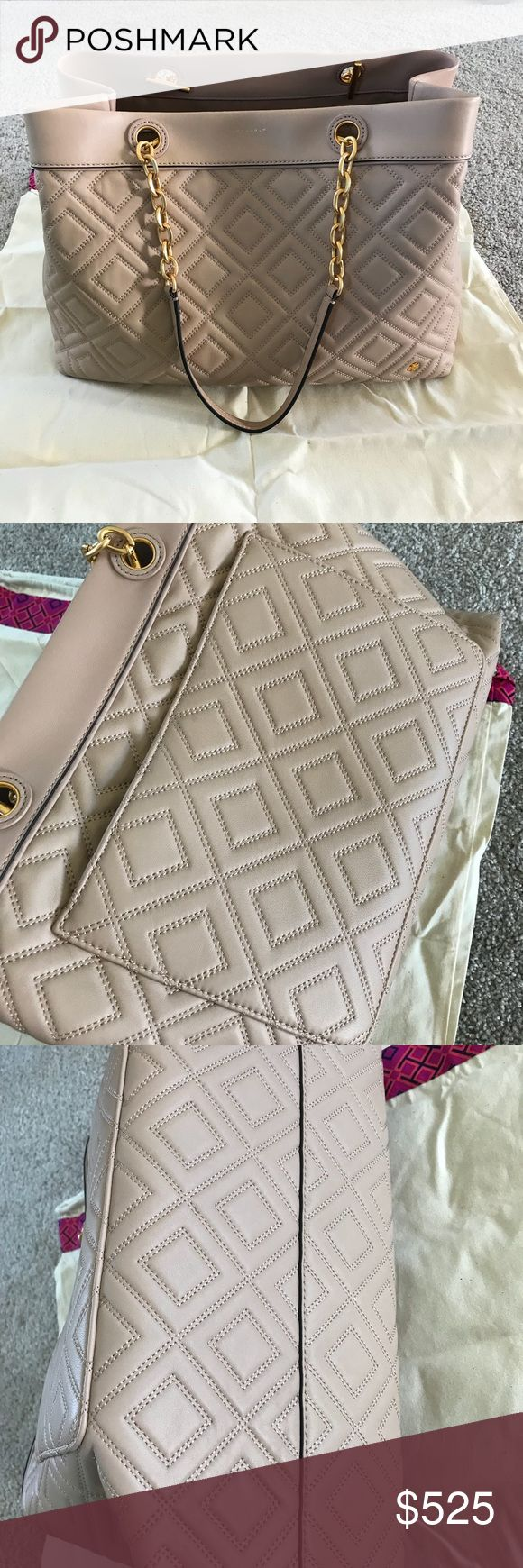 """Tory Burch Fleming shoulder bag (LARGE) This is the most beautiful quilted leather bag.  The Tory Burch Fleming is a dupe for the Gucci GG Marmont!!! The color is a """"new mink"""" pink / beige color, gold hardware, perfect neutral for every day. I have used this one time- I bought 2 Tory Bags and am keeping the McGraw Tote since I have been reaching for it more! It breaks my heart a bit to have to give this one up! One slight scratch near upper corner pictured above- otherwise perfect condition…"""