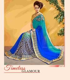 Buy Blue embroidered georgette saree with blosue party-wear-saree online