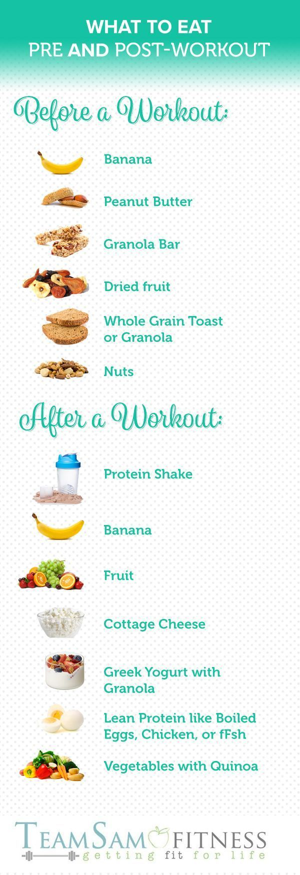 Are you fueling your body correctly for your workout? What to Eat Before & After a Workout www.teamsamfitnes...