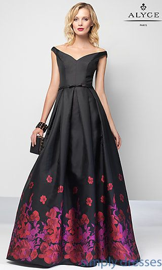 Shop formal gowns and long v-neck print dresses at Simply Dresses. Open-back designer gowns for formal parties and gala dresses.